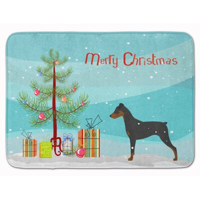 German Pinscher Merry Christmas Tree Memory Foam Bath Rug