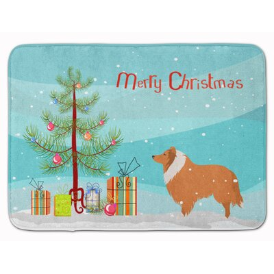 Collie Dog Merry Christmas Tree Memory Foam Bath Rug