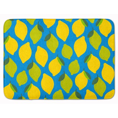 Lemons and Limes Memory Foam Bath Rug Color: Aqua
