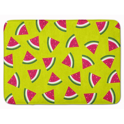 Watermelon on Lime Green Memory Foam Bath Rug Color: Lime Green