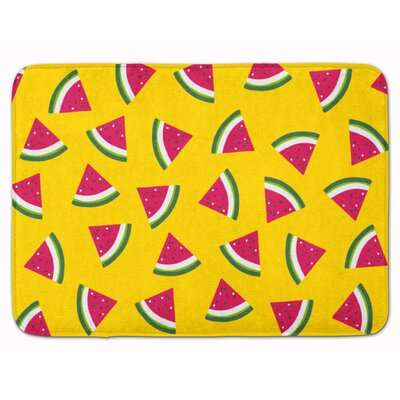 Watermelon on Lime Green Memory Foam Bath Rug Color: Yellow