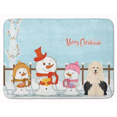 Merry Christmas Old English Sheepdog Memory Foam Bath Rug