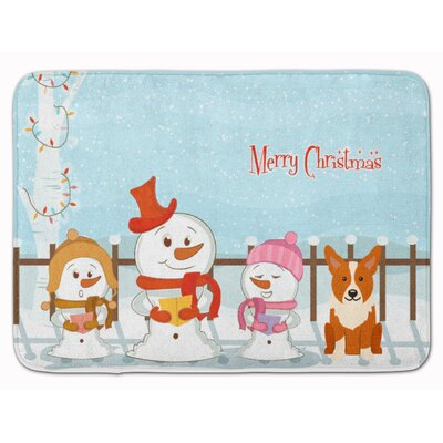 Merry Christmas Carolers Corgi Memory Foam Bath Rug