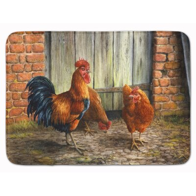 Jaiden Rooster and Chickens by Daphne Baxter Memory Foam Bath Rug