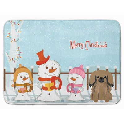 Merry Christmas Carolers Pekingese Memory Foam Bath Rug