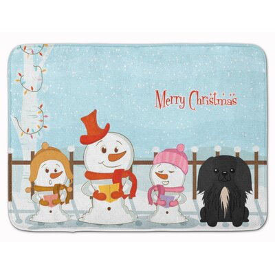 Merry Christmas Pekingese Memory Foam Bath Rug Color: Black