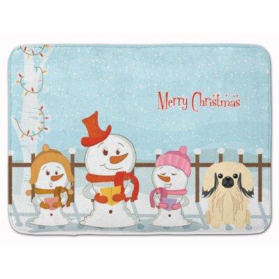 Merry Christmas Pekingese Memory Foam Bath Rug Color: Cream