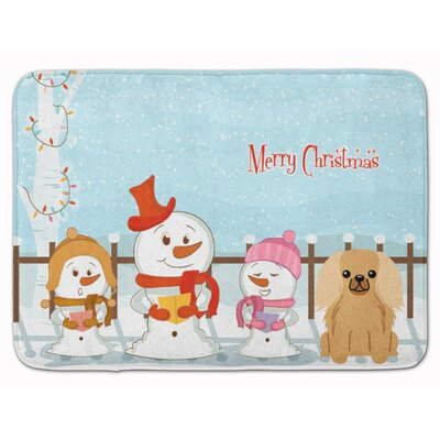 Merry Christmas Pekingese Memory Foam Bath Rug Color: Fawn