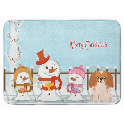 Merry Christmas Pekingese Memory Foam Bath Rug Color: Red/White