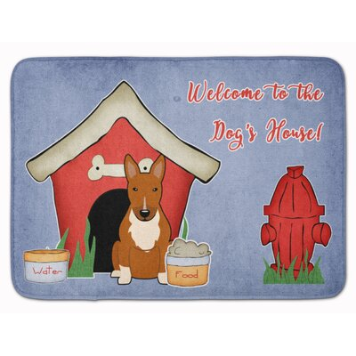 Dog House Bull Terrier Memory Foam Bath Rug Color: Red
