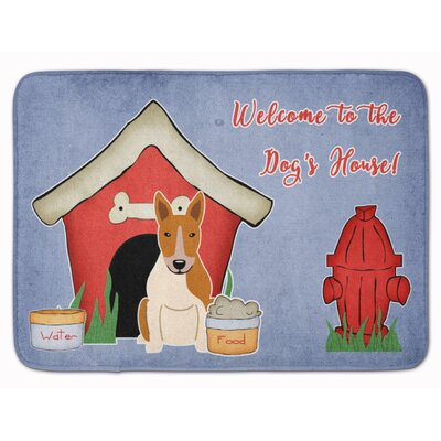 Dog House Bull Terrier Memory Foam Bath Rug Color: Red/White