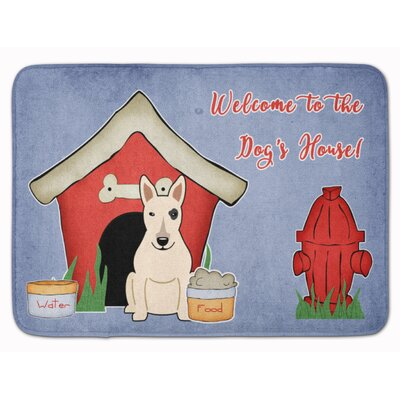 Dog House Bull Terrier Memory Foam Bath Rug Color: White