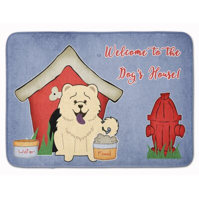 Dog House Chow Chow Memory Foam Bath Rug Color: White