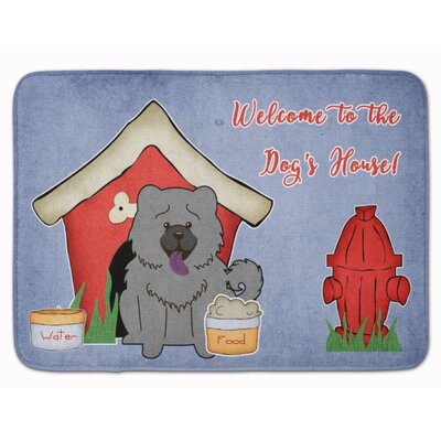 Dog House Chow Chow Memory Foam Bath Rug Color: Blue
