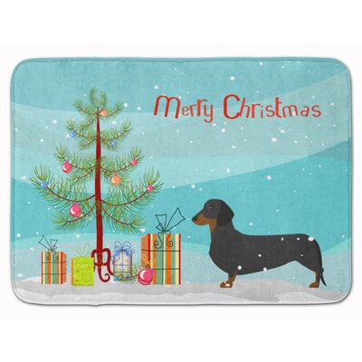 Dachshund Merry Christmas Tree Memory Foam Bath Rug