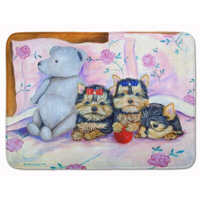 Yorkie Puppies Three in a row Memory Foam Bath Rug