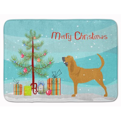 Bloodhound Merry Christmas Tree Memory Foam Bath Rug