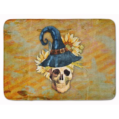 Day of the Dead Witch Skull Memory Foam Bath Rug