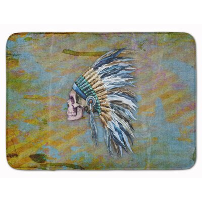 Day of the Dead Indian Chief Skull Memory Foam Bath Rug