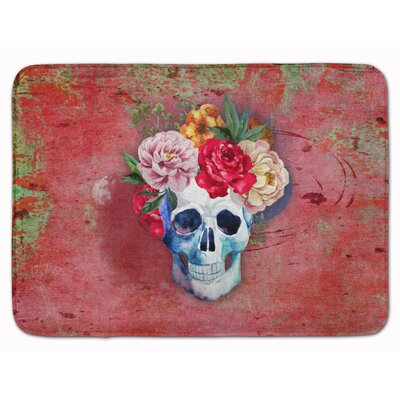 Day of the Dead Flower Skull Memory Foam Bath Rug