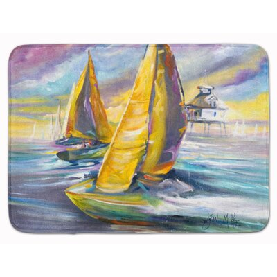 Sailboat with Middle Bay Lighthouse Memory Foam Bath Rug