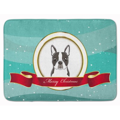 Boston Terrier Merry Christmas Memory Foam Bath Rug