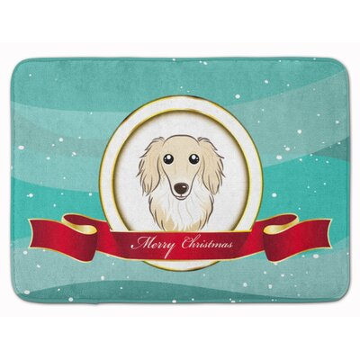 Longhair Dachshund Christmas Memory Foam Bath Rug Color: Cream