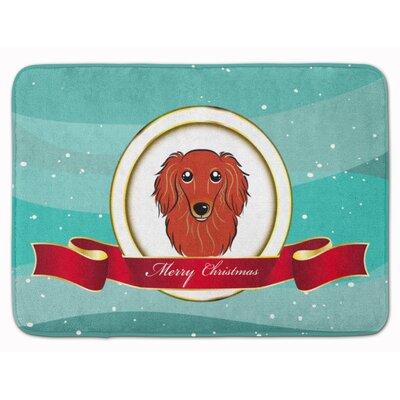 Longhair Dachshund Christmas Memory Foam Bath Rug Color: Red