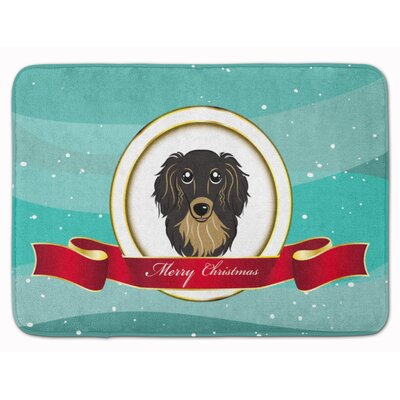 Longhair Dachshund Christmas Memory Foam Bath Rug Color: Tan