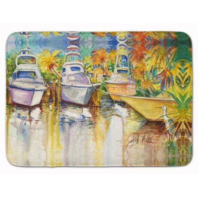 Heron and Deep Sea Fishing Boats Memory Foam Bath Rug