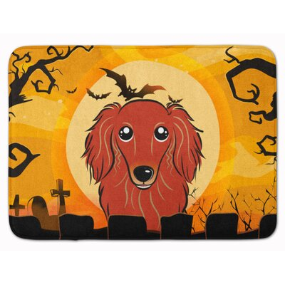 Halloween Longhair Dachshund Memory Foam Bath Rug Color: Red