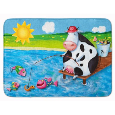 Cow Fishing off of a Pier Memory Foam Bath Rug