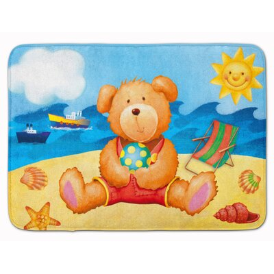 Teddy Bear on the Beach Memory Foam Bath Rug