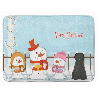 Merry Christmas Carolers Briard Memory Foam Bath Rug Color: Black