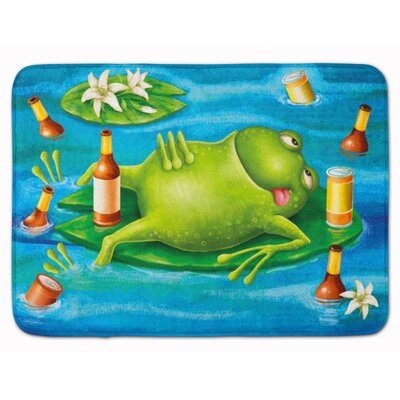 Frog Drinking Beer Memory Foam Bath Rug