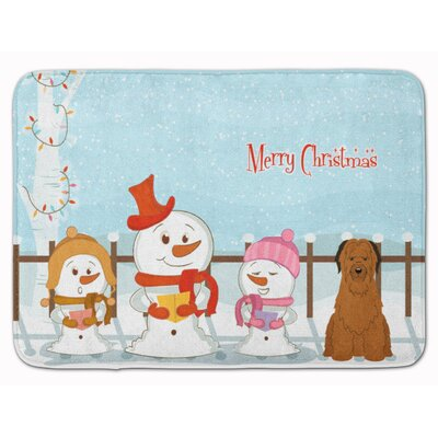 Merry Christmas Carolers Briard Memory Foam Bath Rug Color: Brown