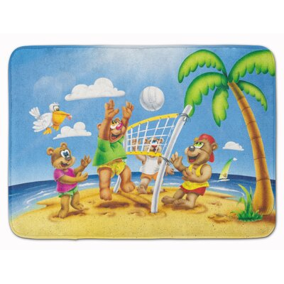 Bear Playing Volleyball Memory Foam Bath Rug