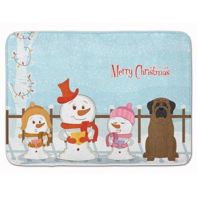 Merry Christmas Carolers Bullmastiff Memory Foam Bath Rug
