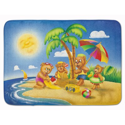 Bear Playing at the Beach Memory Foam Bath Rug