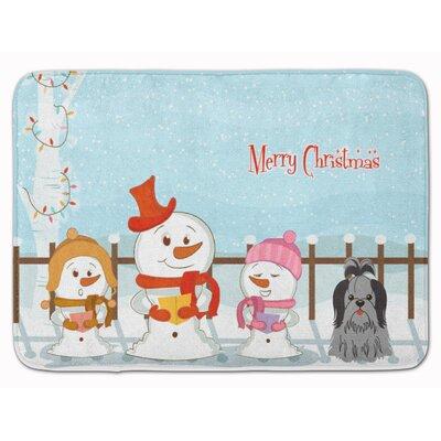 Merry Christmas Shih Tzu Memory Foam Bath Rug Color: Black/Silver