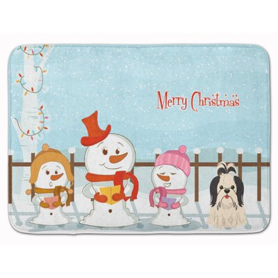 Merry Christmas Shih Tzu Memory Foam Bath Rug Color: Black/White