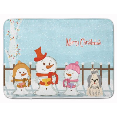 Merry Christmas Shih Tzu Memory Foam Bath Rug Color: Silver/White