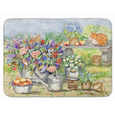 Patio Bouquet and Cat Memory Foam Bath Rug