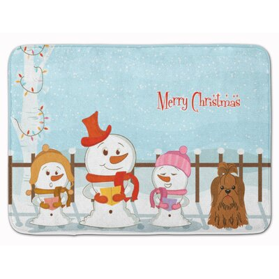 Christmas Carolers Shih Tzu Memory Foam Bath Rug Color: Chocolate