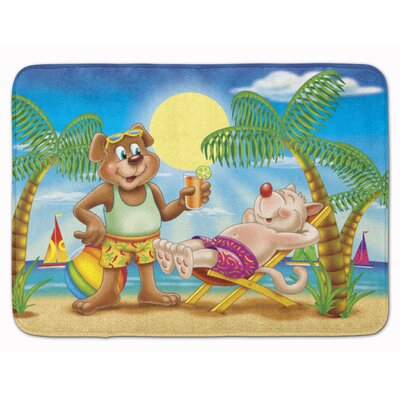 Bears Relaxing at the Beach Memory Foam Bath Rug