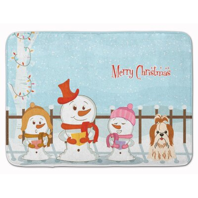 Christmas Carolers Shih Tzu Memory Foam Bath Rug Color: Beige/Red