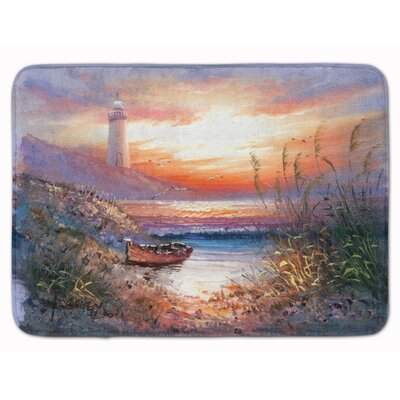 Lighthouse Scene with Boat Memory Foam Bath Rug