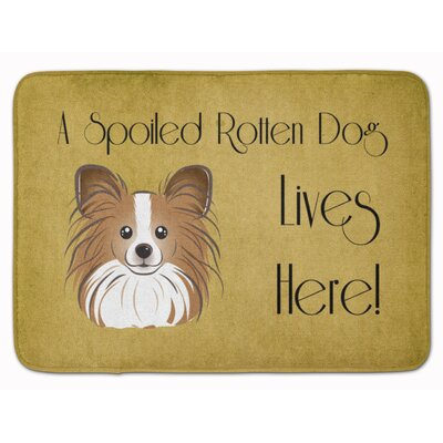Papillon Spoiled Dog Lives Here Memory Foam Bath Rug