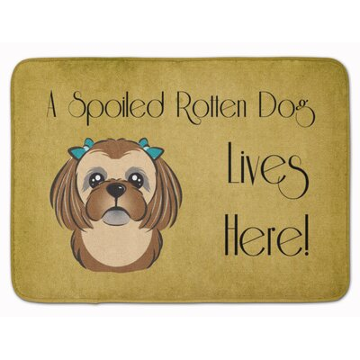 Shih Tzu Spoiled Dog Memory Foam Bath Rug Color: Brown