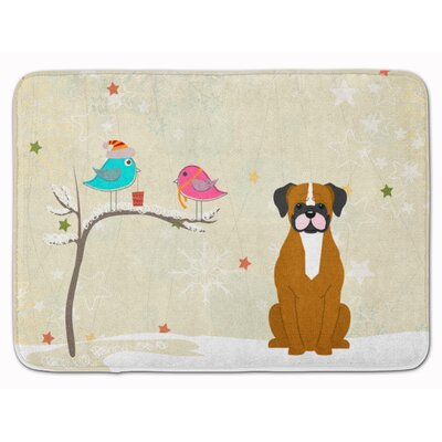 Christmas Presents Flashy Fawn Boxer Memory Foam Bath Rug